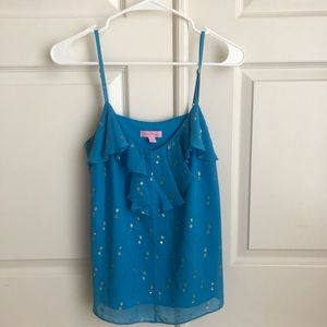 EUC Lilly Pulitzer Blue & Gold Ruffle Front Tank